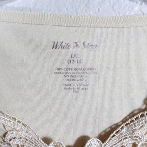 White Stag Tops - Cotton Tank Top With Lace Detailing Size Large
